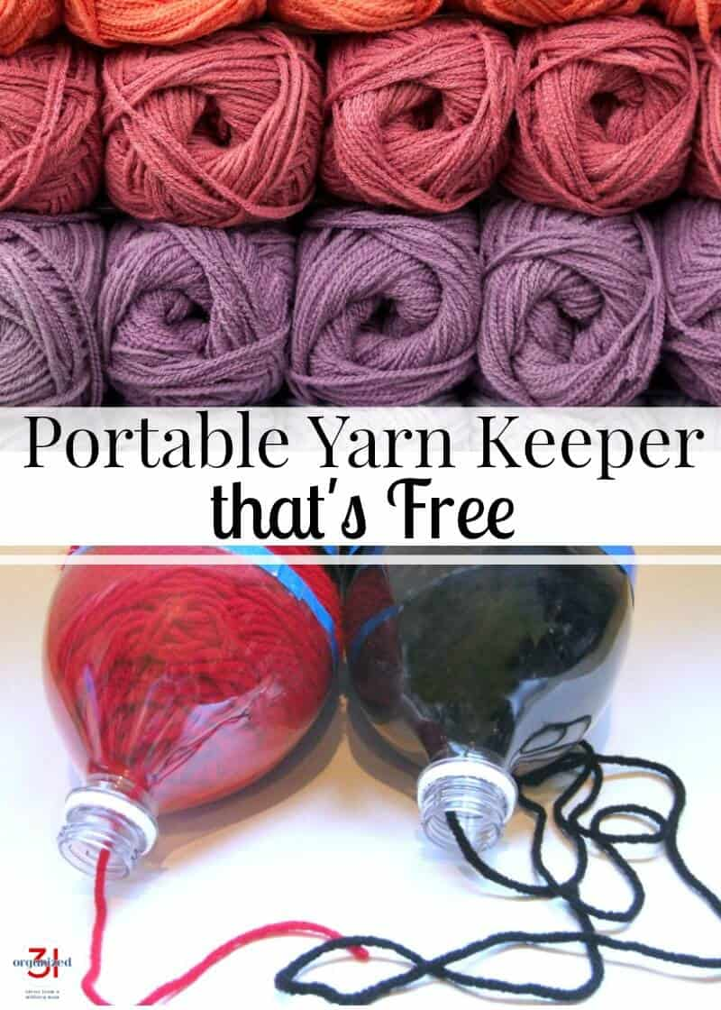 Keep skeins of yarn neat and organized and prevent tangles with this free portable yarn keeper. It makes it easy to crochet or knit while you're on-the-go.