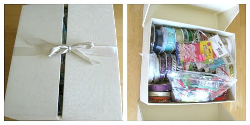 Recycled berry container ribbon storage