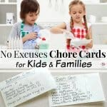 split image of chore cards and kids doing dishes with text overlay