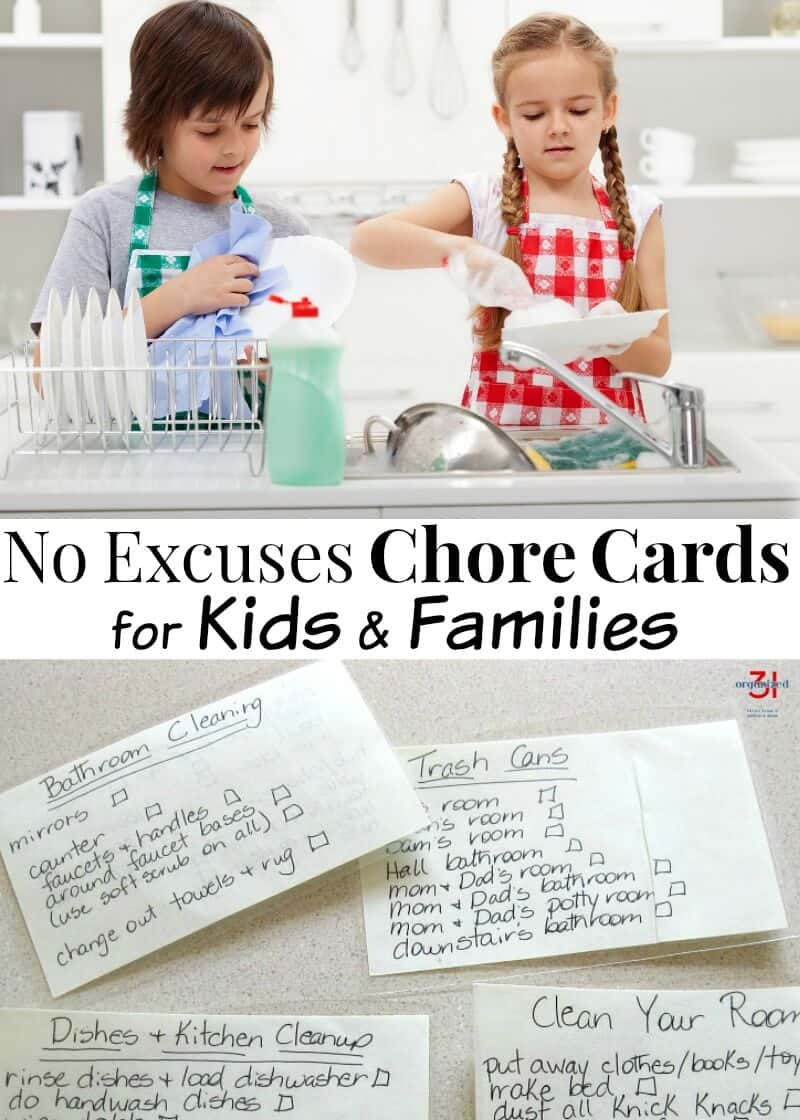 As parents, we have children do household chores to teach life skills and responsibility. Use chore cards for kids & family as a reminder of required tasks.