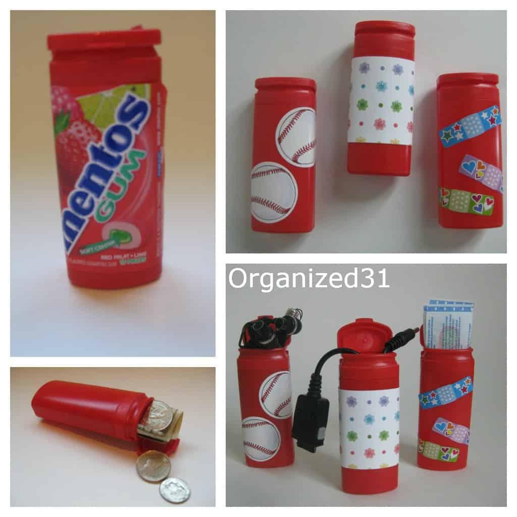 Repurposed Mentos Bottles Organized 31