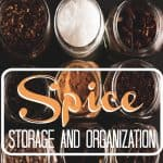 multiple open jars of spices lined up with text overlay