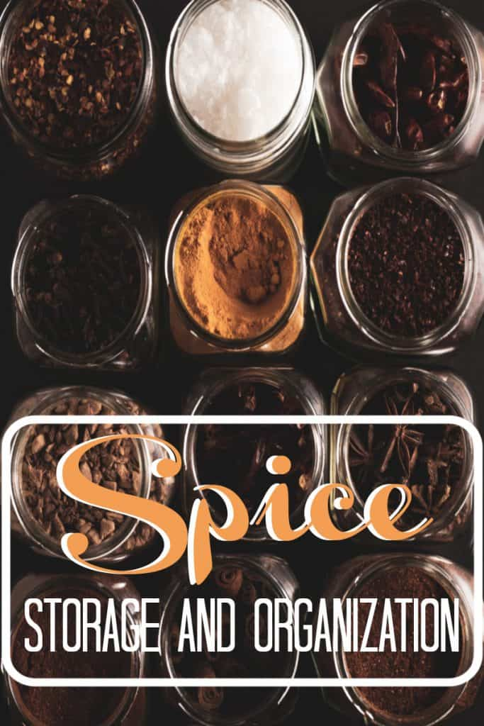 multiple open jars of spices lined up