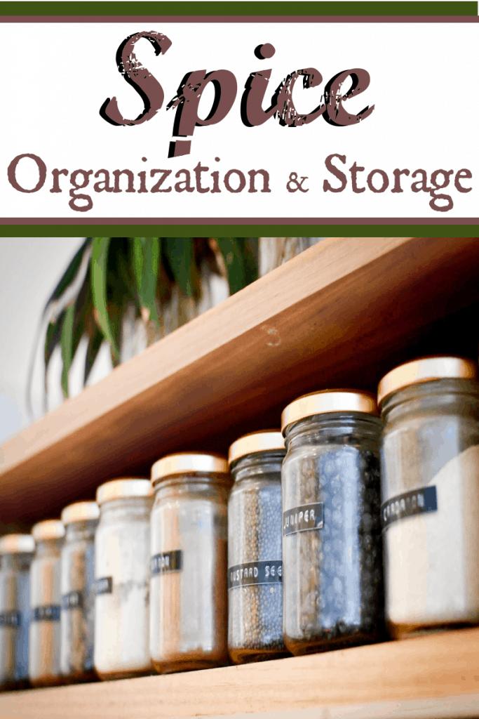 glass jars of spices on shelf