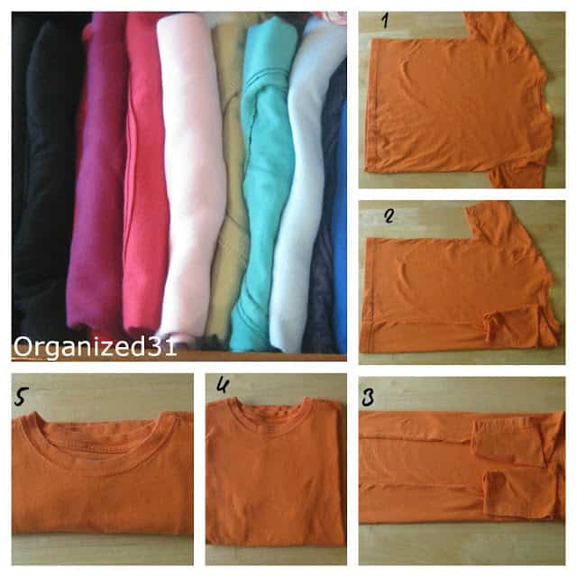collage of steps on how to fold a t-shirt using an orange tee on a table