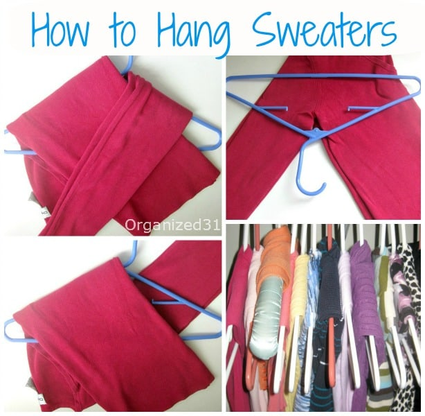 collage of how to hang sweater on a hanger