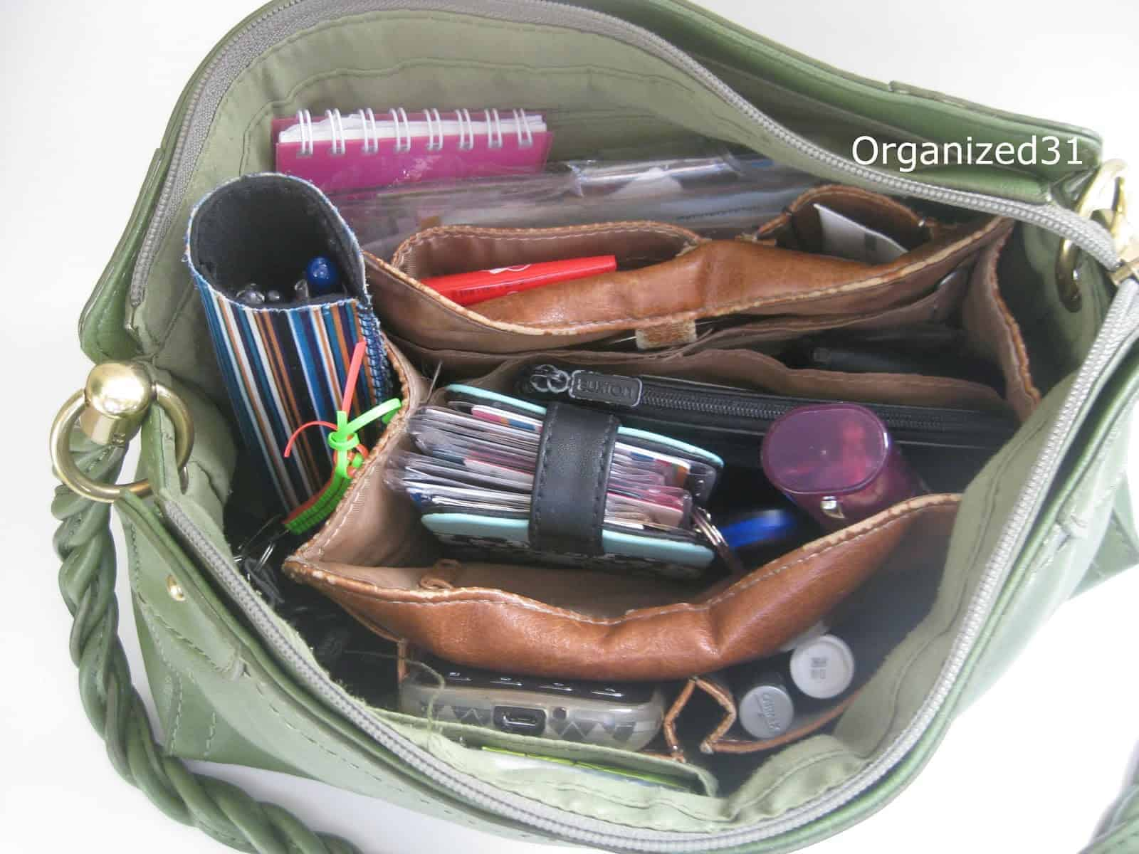 open purse with neat interior