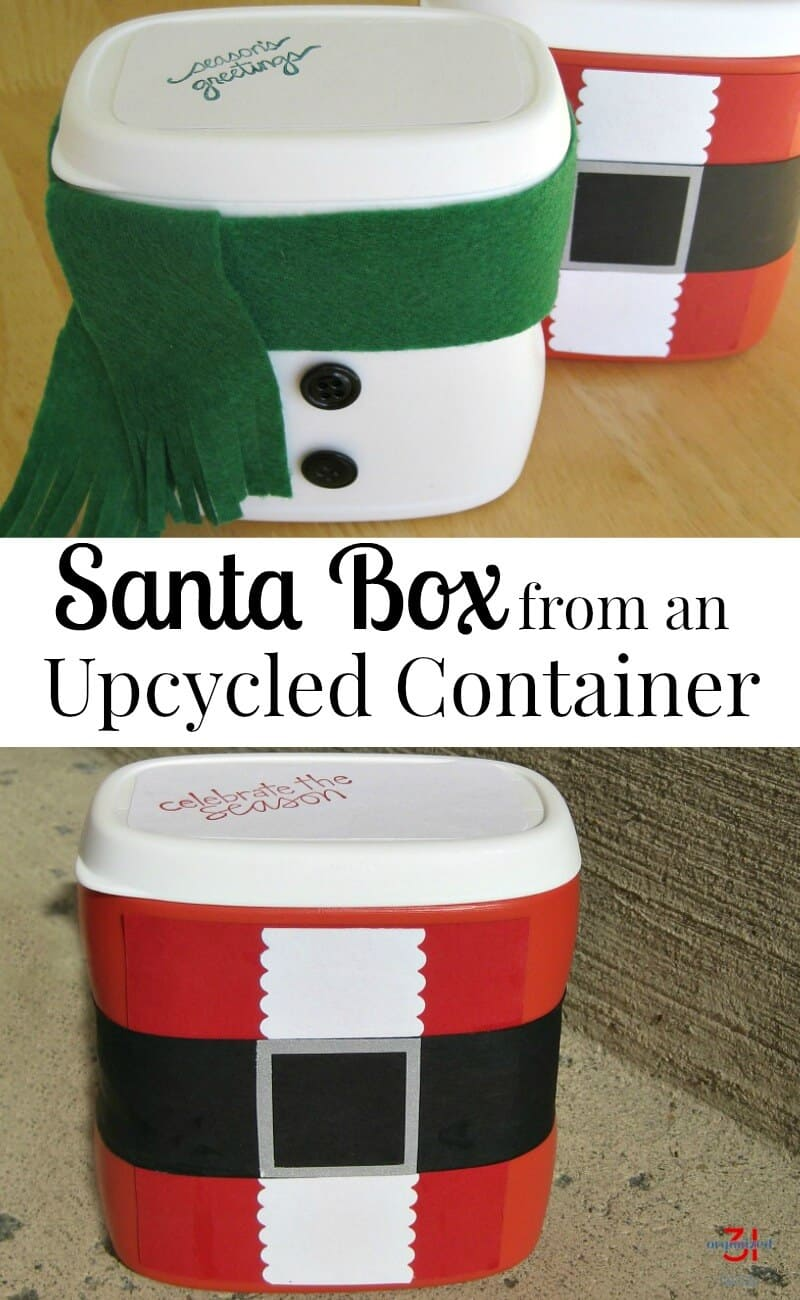 Make a Santa treat box from a repurposed container. A great kids' craft. #Christmas