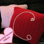 Repurposed Sweater Valentine's Pillow