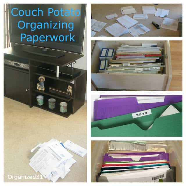 Organized31 - Couch Potato Organizing Paperwork