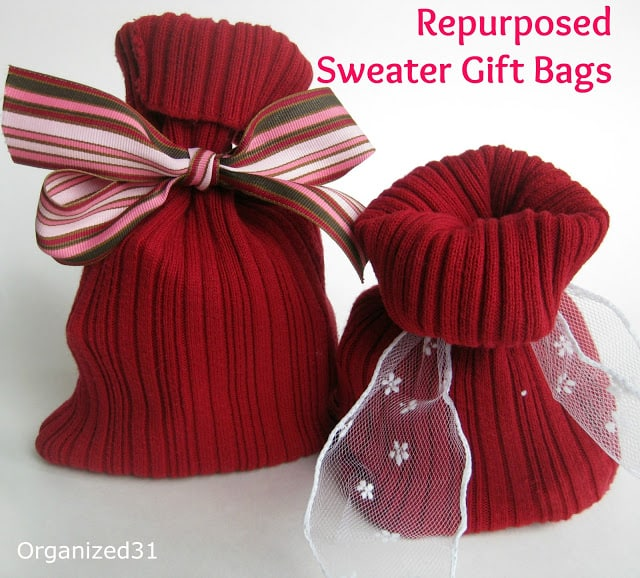 Organized31 - Repurposed Sweater Sleeve Gift Bag