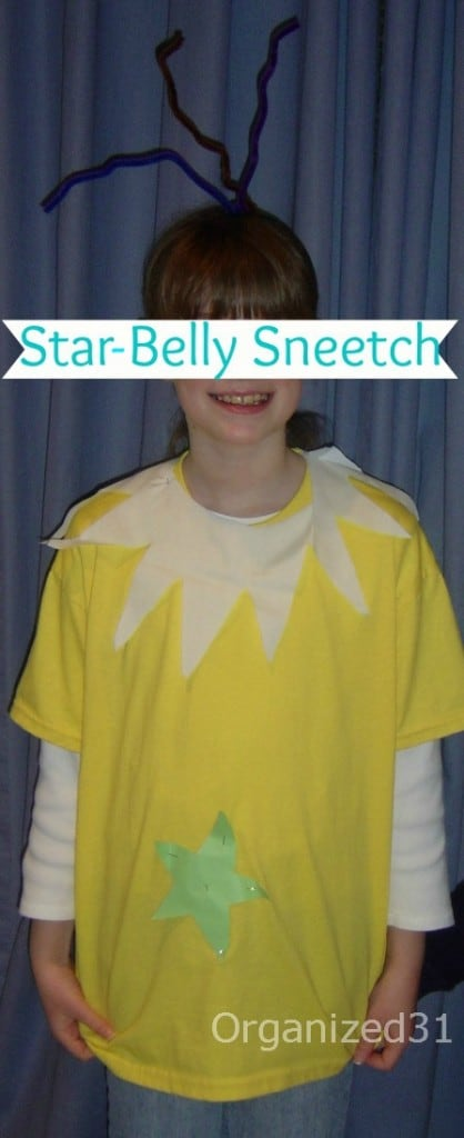 child in Dr. Seuss Sneetch costume
