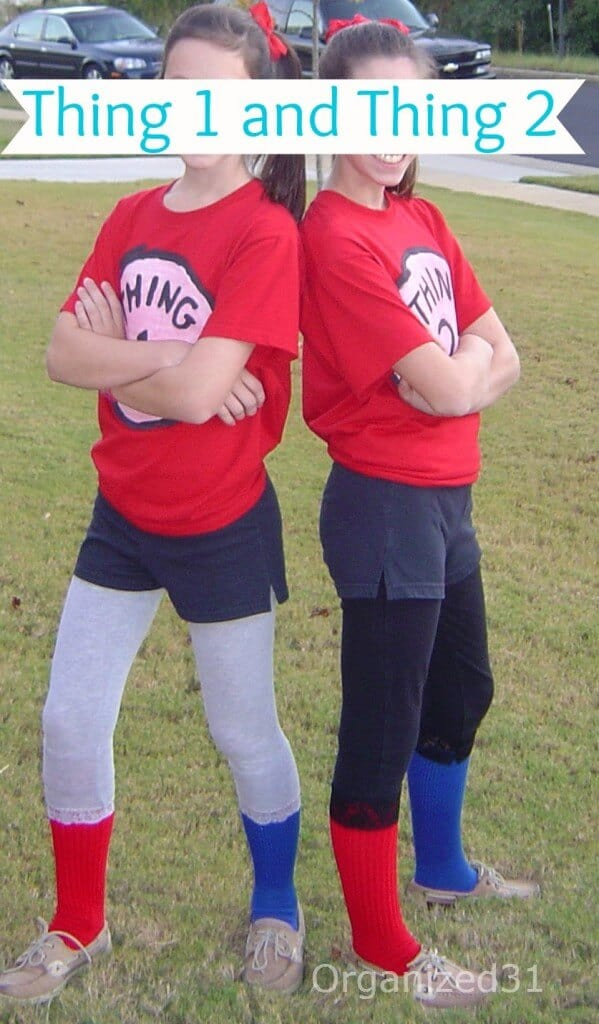 2 girls dressed at Thing 1 and Thing 2