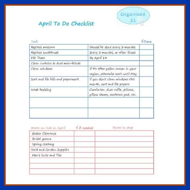 Organized 31 - Your April To Do List