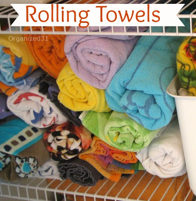 Organized 31 - rolling towels make them easy to store