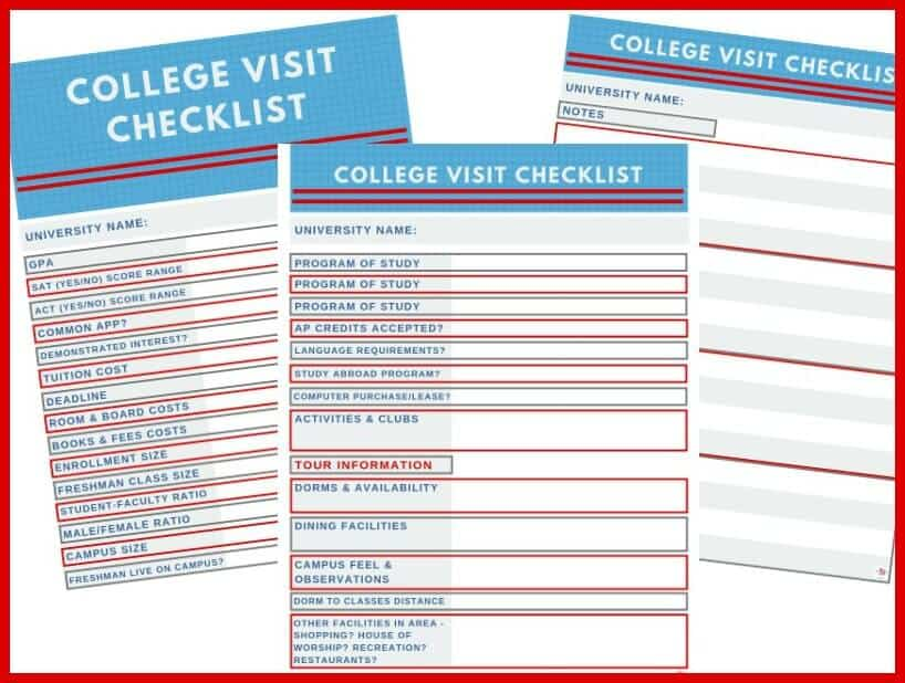 images of 3 college visit checklists