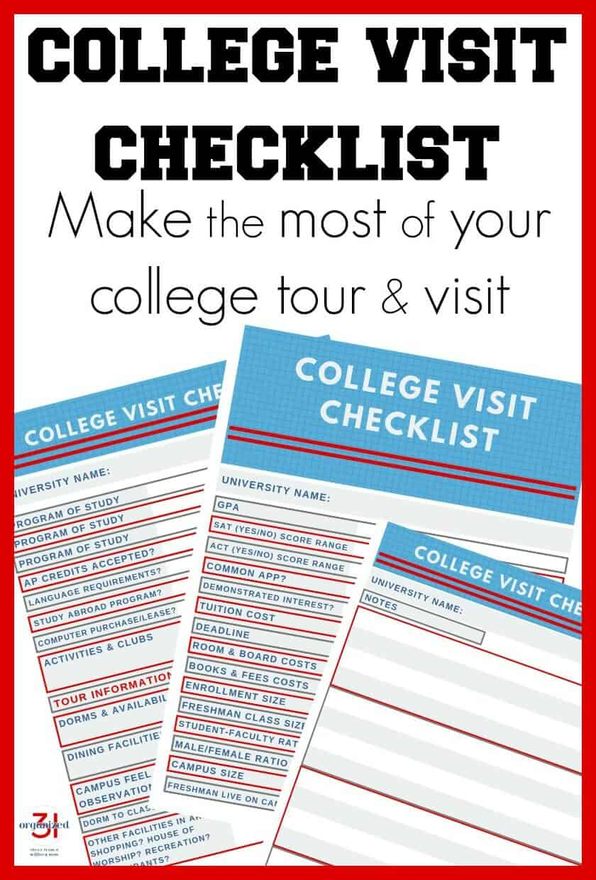 Image of 3 college visit worksheets with text overlay