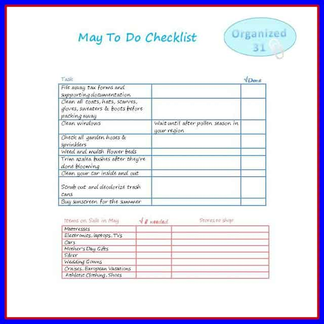 Organized 31 - May To Do Checklist