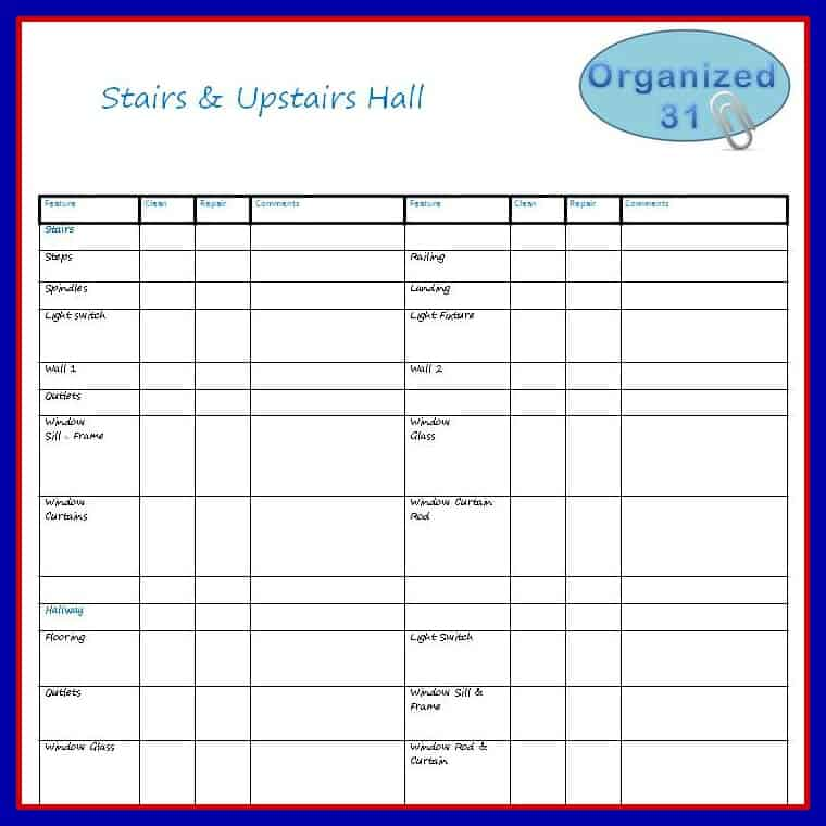 moving - upstairs room checklist