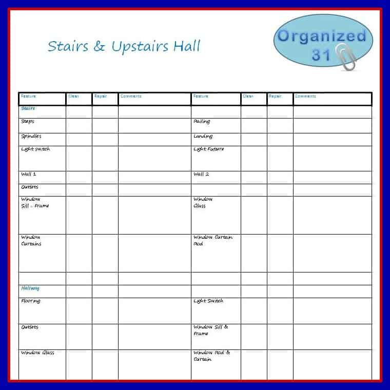 Dream Kitchen Checklist: Upstairs Room Checklist