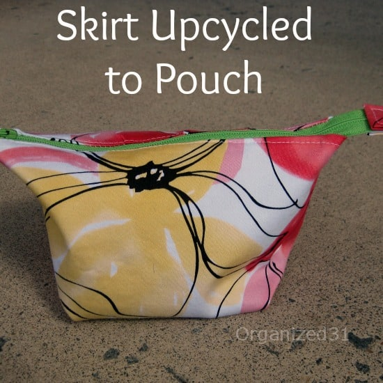 Organized 31- Skirt Upcycled to zippered pouch