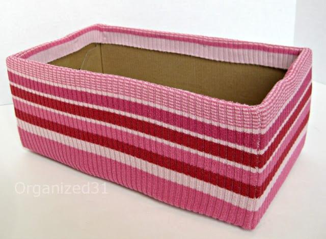 Organized 31 - Upcycled Sweater & Shoe Box Organizing Bin