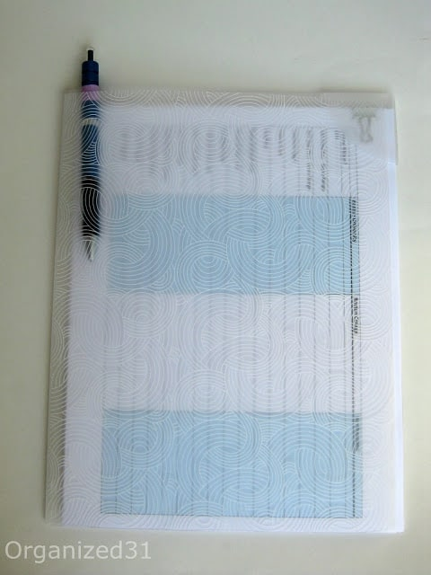 clear folder with checklist and pin