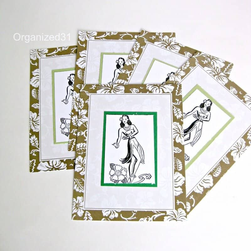 DIY papercraft Retro Hula Thank You Cards.