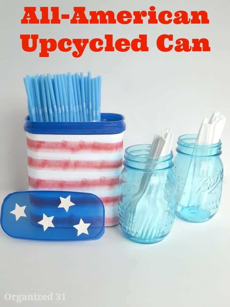 Recycled plastic can for an upcycled patriotic DIY