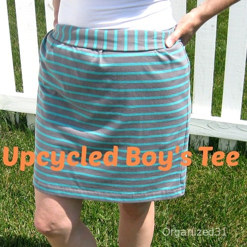 Organized 31 - $1 New Boys Tee Upcycled into a Skirt