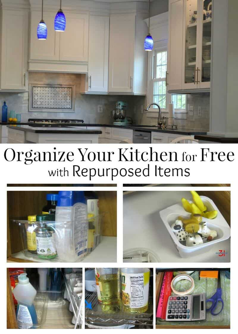 How to organize your kitchen for free using repurposed items that were headed to the trash or recycling bin. Frugal and earth-friendly tips for organizing.