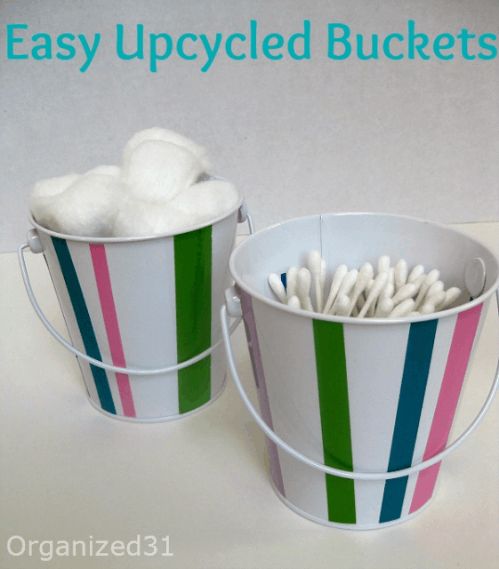 Organized 31 - Easy Upcycled Buckets for Bathroom Organization