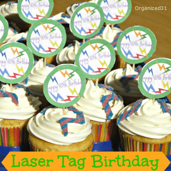 Organized 31 - Easy to decorate cupcakes for a laser tag party.