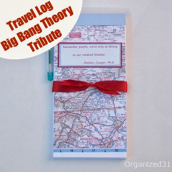 Organized 31 - Big Bang Theory Tribute - Sheldon's Travel Log Notepad