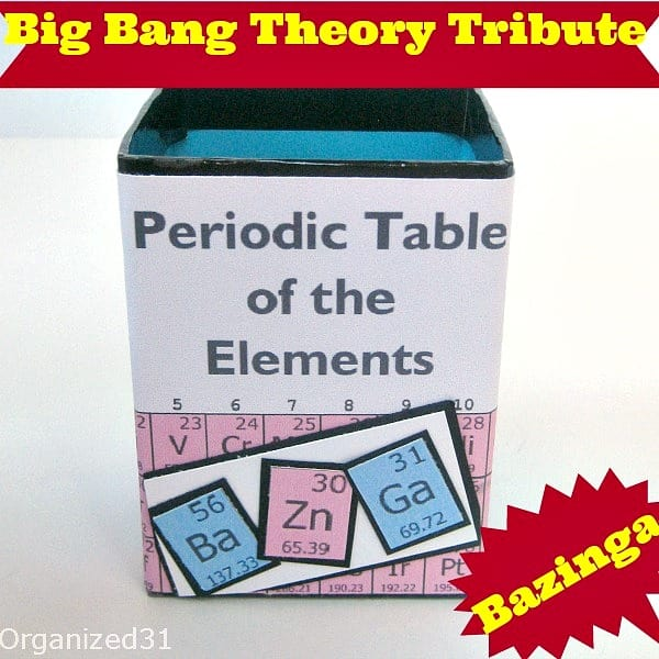 Organized 31 - Big Bang Theory Sheldon's Bazinga Periodic Table Pencil Cup Holder