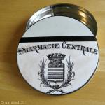 Pharmacy Image + Mod Podge = Organizing Tin
