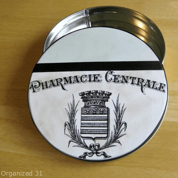 Organized 31 - Repurposed diy decoupage craft organizing tin with vintage pharmacy image