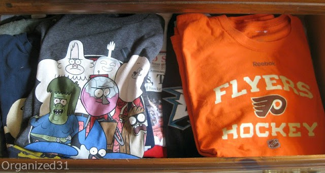 Organized 31 - Make extra room in your drawer by filing your clothes