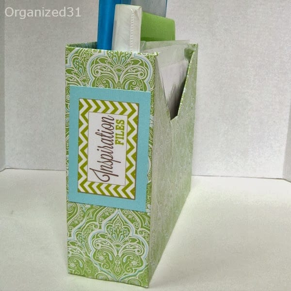 decorated file box with label