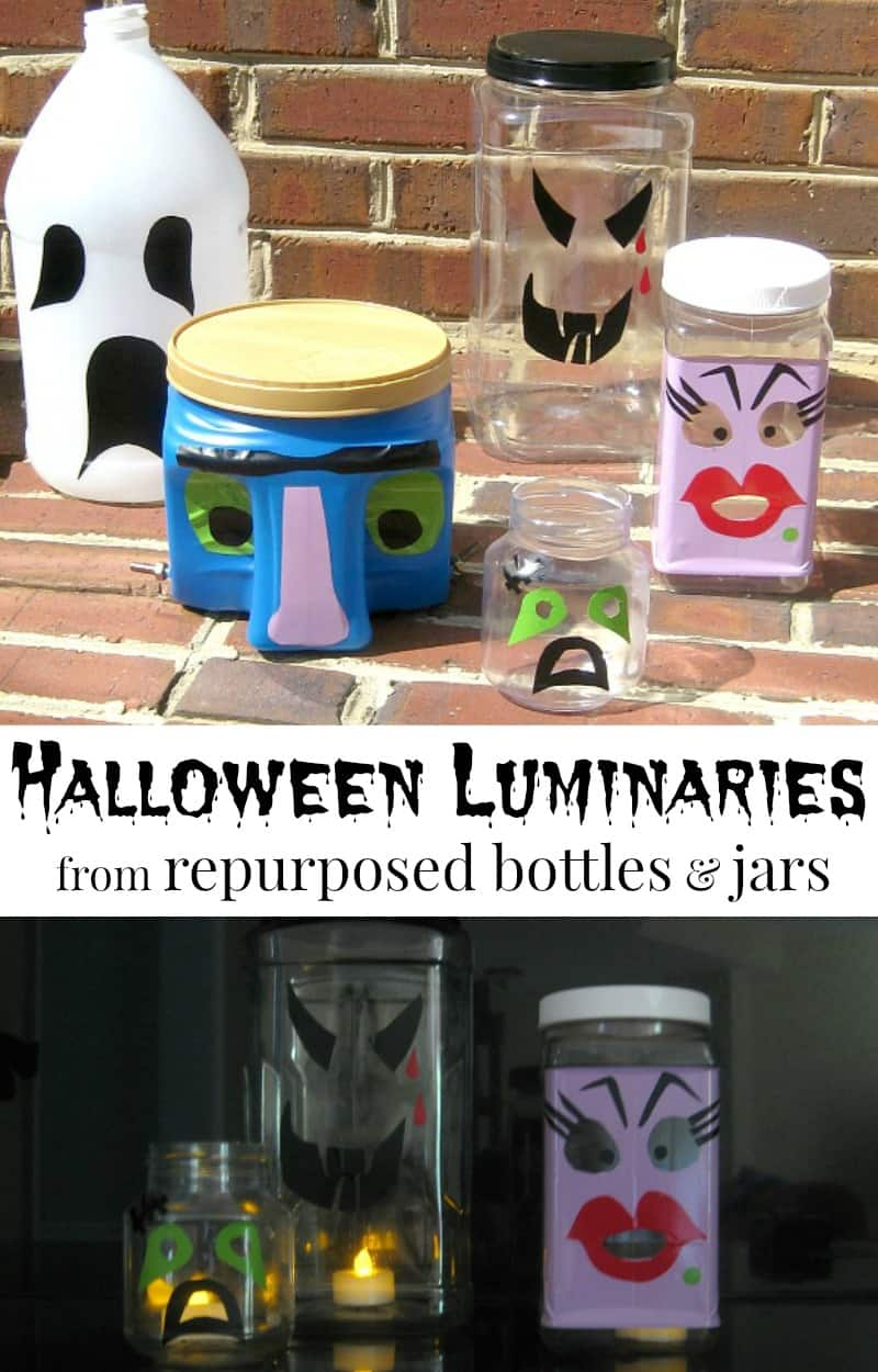 one photos of repurposed plastic bottle monster faces and one of Halloween luminaries in the dark