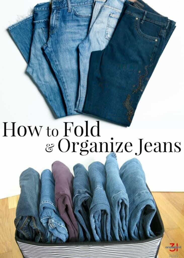 image of pairs of folded jeans with text overlay