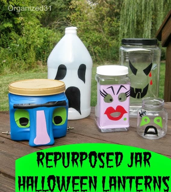 Organized 31 - Fun or Scary Halloween Luminary Decorations from Repurposed Plastic Jars & Cans