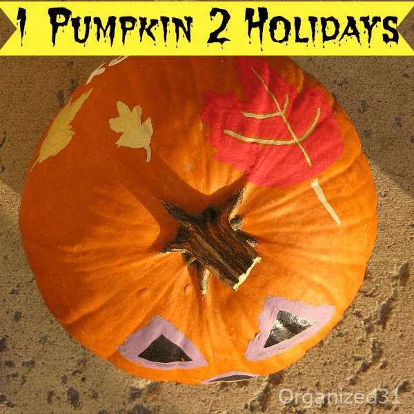 1 pumpkin decorated for both halloween and thanksgiving for How to decorate a pumpkin for thanksgiving