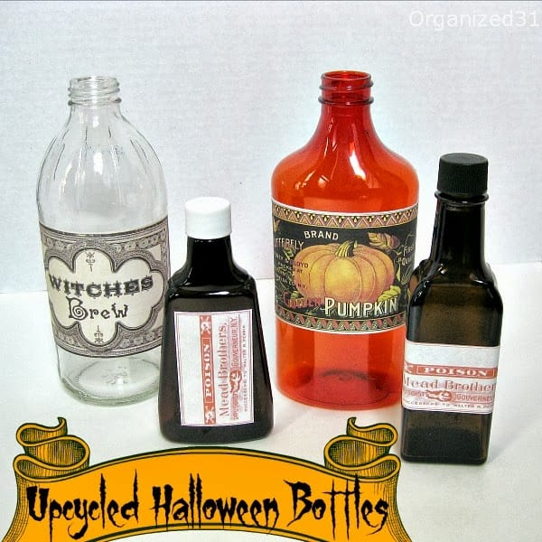 Organized 31 - Upcycled Halloween Bottle Decoration