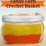 Make this fun crocheted candy corn basket as a Halloween decoration or to give as a gift.
