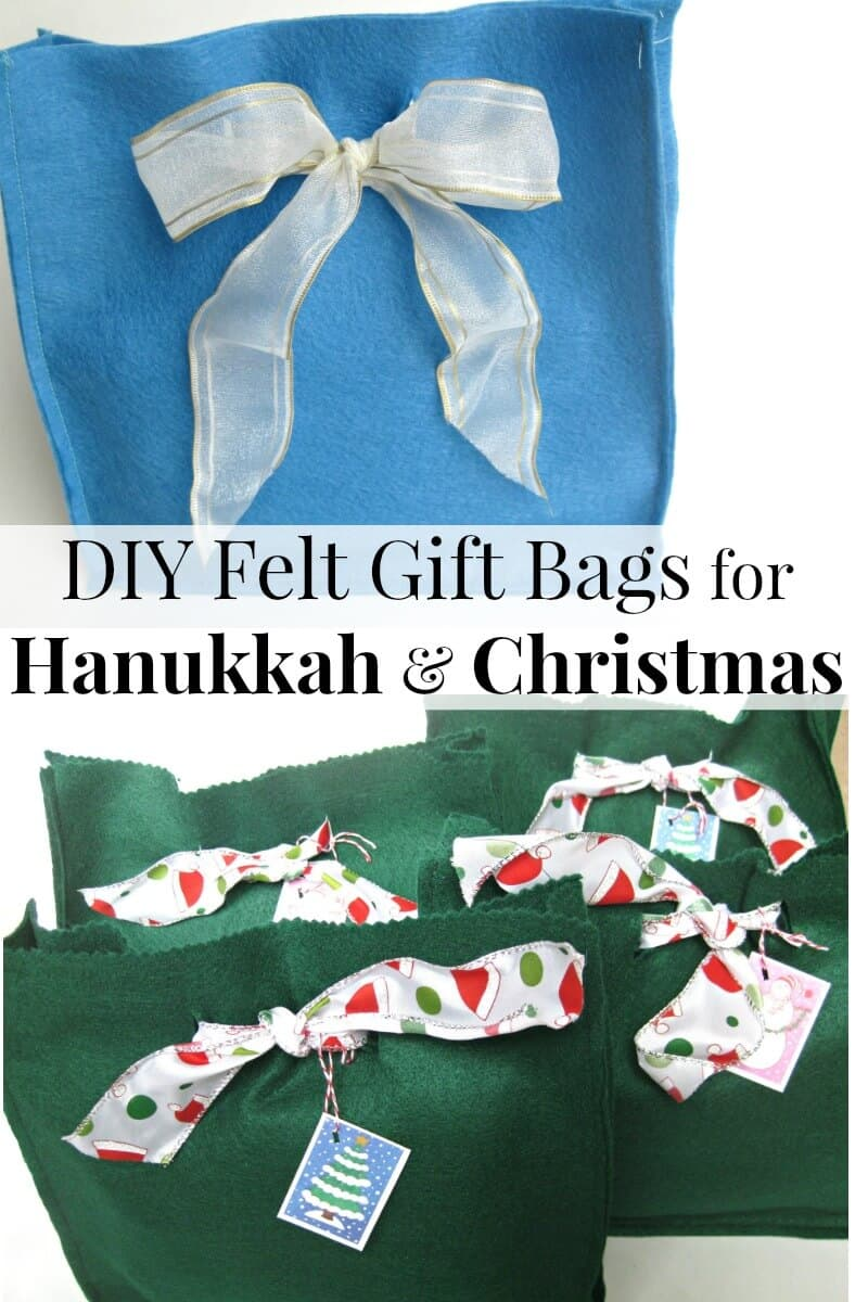 These easy-to-make felt gift bags are perfect for beginning sewing and for both Hanukkah and Christmas gift giving.
