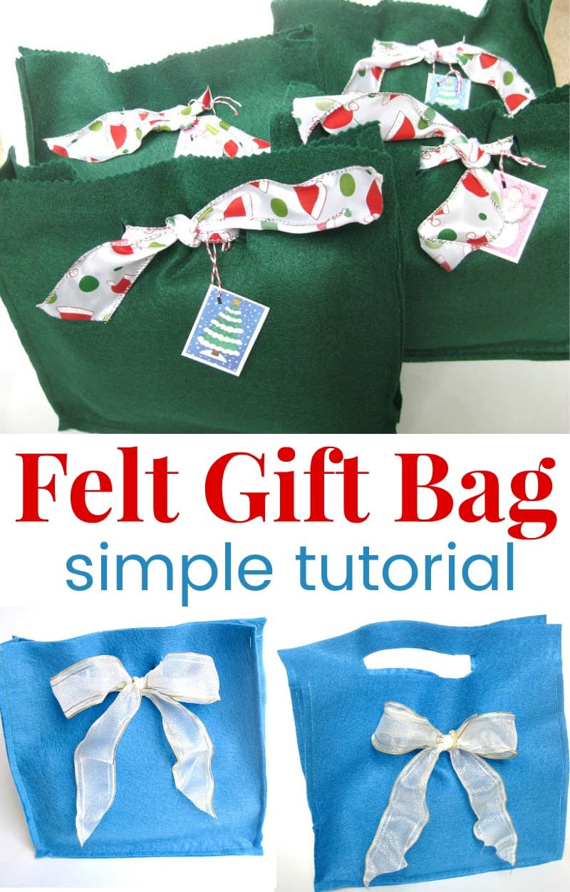 collage of felt gift bags in different styles and colors
