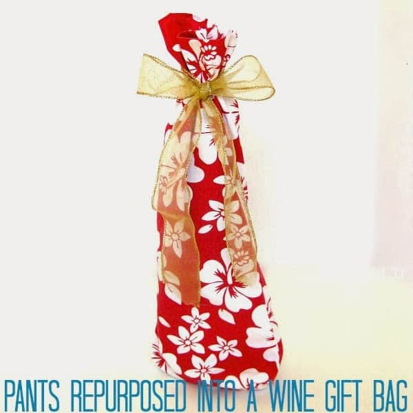 Pants leg repurposed into an upcycled wine gift bag - Organized 31