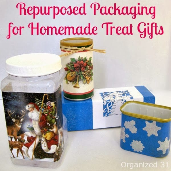 Repurposed food packaging upcycled into gift wrapping for homemade treats- Organized 31
