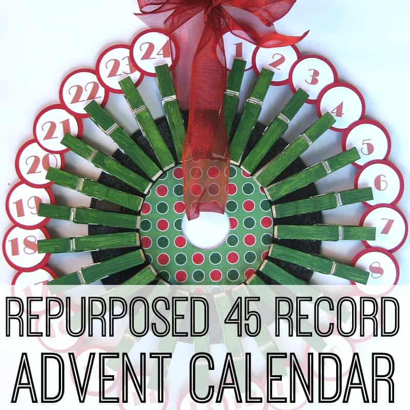 Advent calendar with 45 record in center and red bow